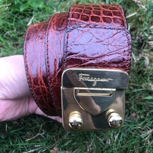 Vintage Salvatore Ferragamo Brown Leather Belt